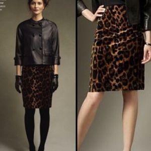 Talbots Faux Fur Leopard Animal Print Pencil Skirt